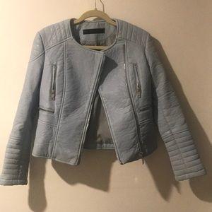 Powder/Baby Blue Leather (Faux) Biker Jacket